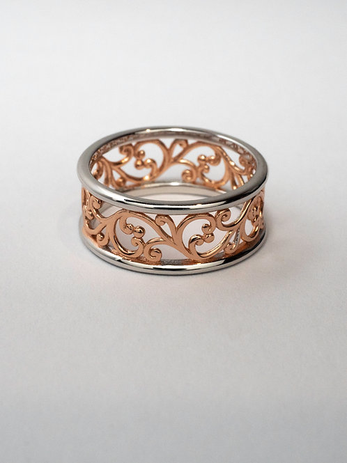 Two Tone Filigree Ring