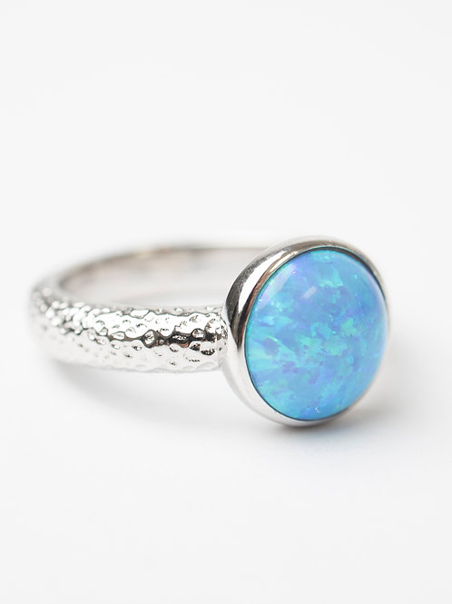 Hammered Opal Ring