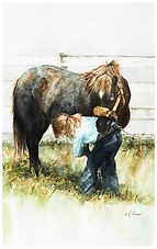 Little girl cleaning pony's feet, watercolor by Kathy Paivinen