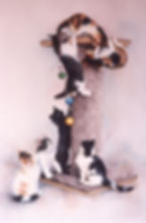 seven kittens on a climbing pole practice being cats, watercolor by Kathy Paivinen