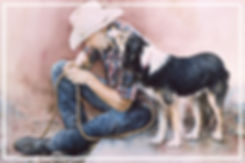 Watercolor painting of a cowboy with his working dog, by Kathy Paivinen