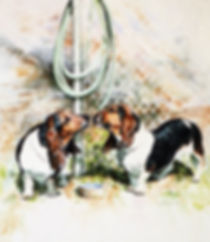 two Basset Hounds drink from garden hose instead of their water dish, watercolor by Kathy Paivinen