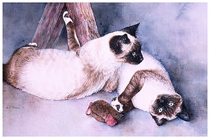 two Siamese cats, watercolor by Kathy Paivinen