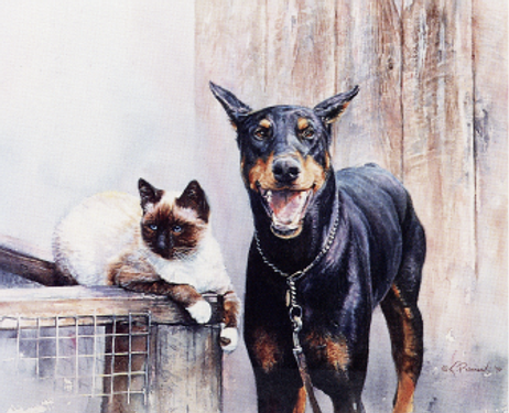 Siamese-like cat with smiling Doberman, watercolor by Kathy Paivinen