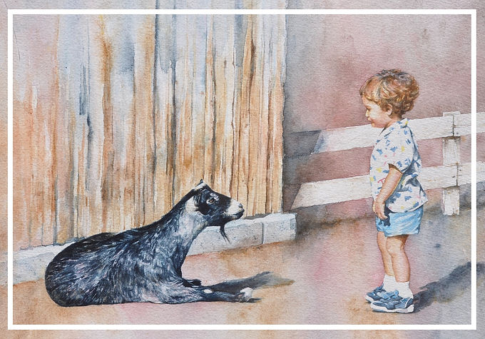 goat and child seem unsure what to make of each other, watercolor by Kathy Paivinen
