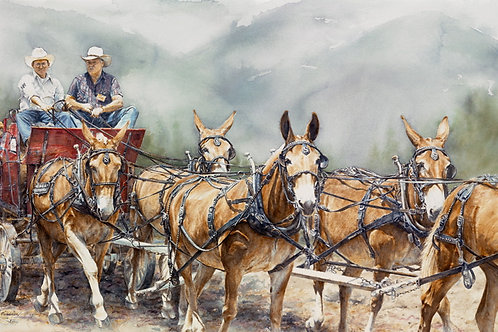 "Notecard (sku #05)""Mule Days"" fine art card & env."