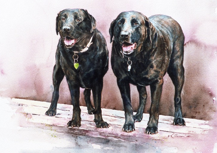 these two smiling black labs are buddies, watercolor by Kathy Paivinen