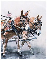 pair of mules tack up for parade, watercolor by Kathy Paivinen