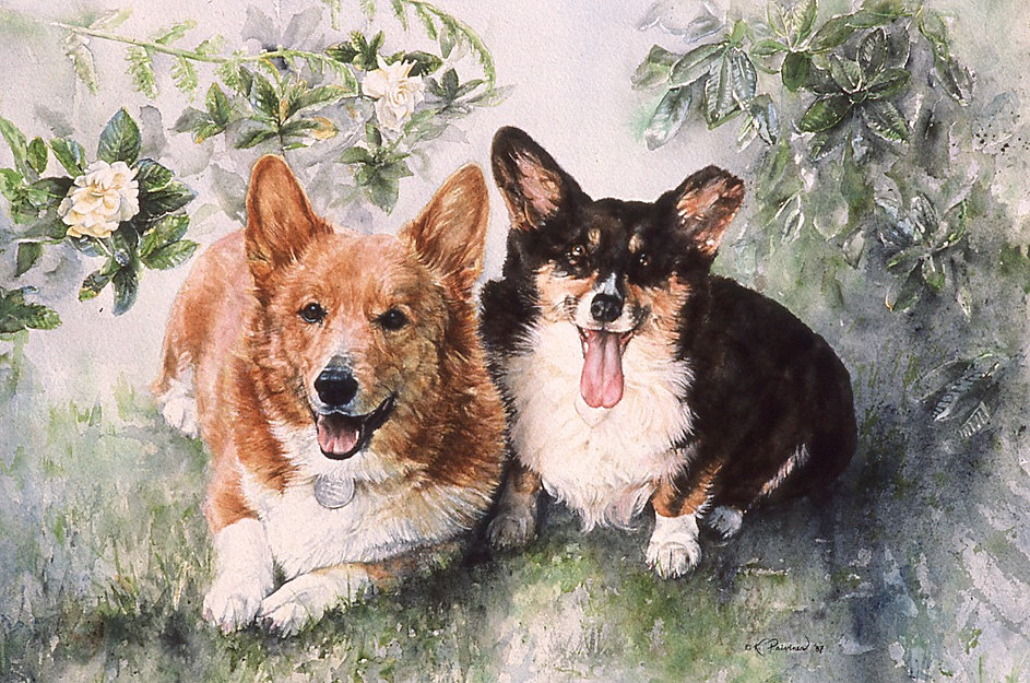 lots of personality in the faces of these two Corgis, watercolor by Kathy Paivinen