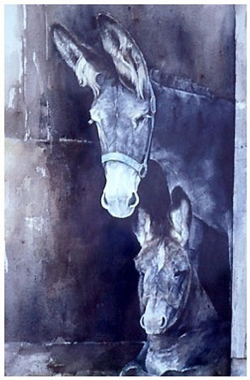 watercolor painting of burros by Kathy Paivinen, print