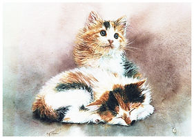Two calico kittens, watercolor by Kathy Paivinen