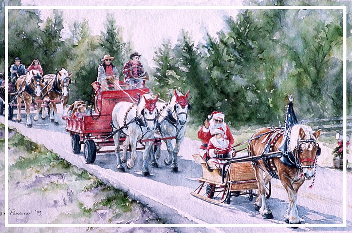 country Christms parade complete with Santa, watercolor by Kathy Paivinen
