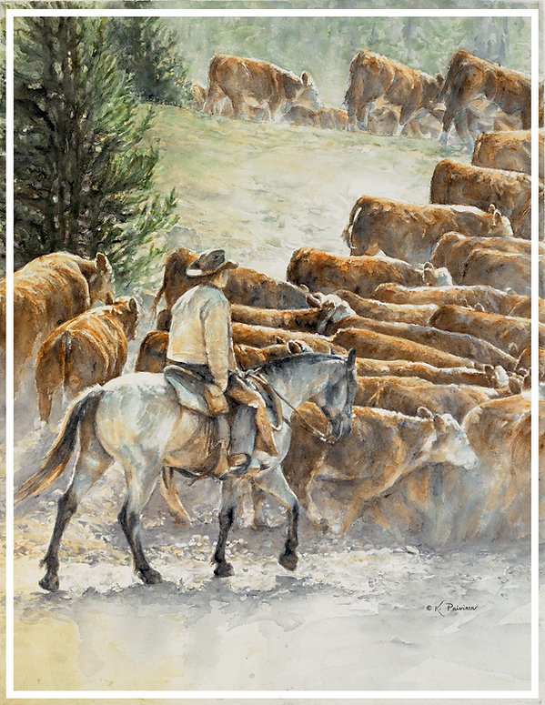 cowboy driving cattle through the dust, watercolor by Kathy Paivinen