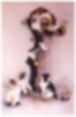 watercolor of kittens on climbing tree by Kathy Paivinen