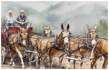 Mule team pulling a wagon, watercolor by Kathy Paivinen