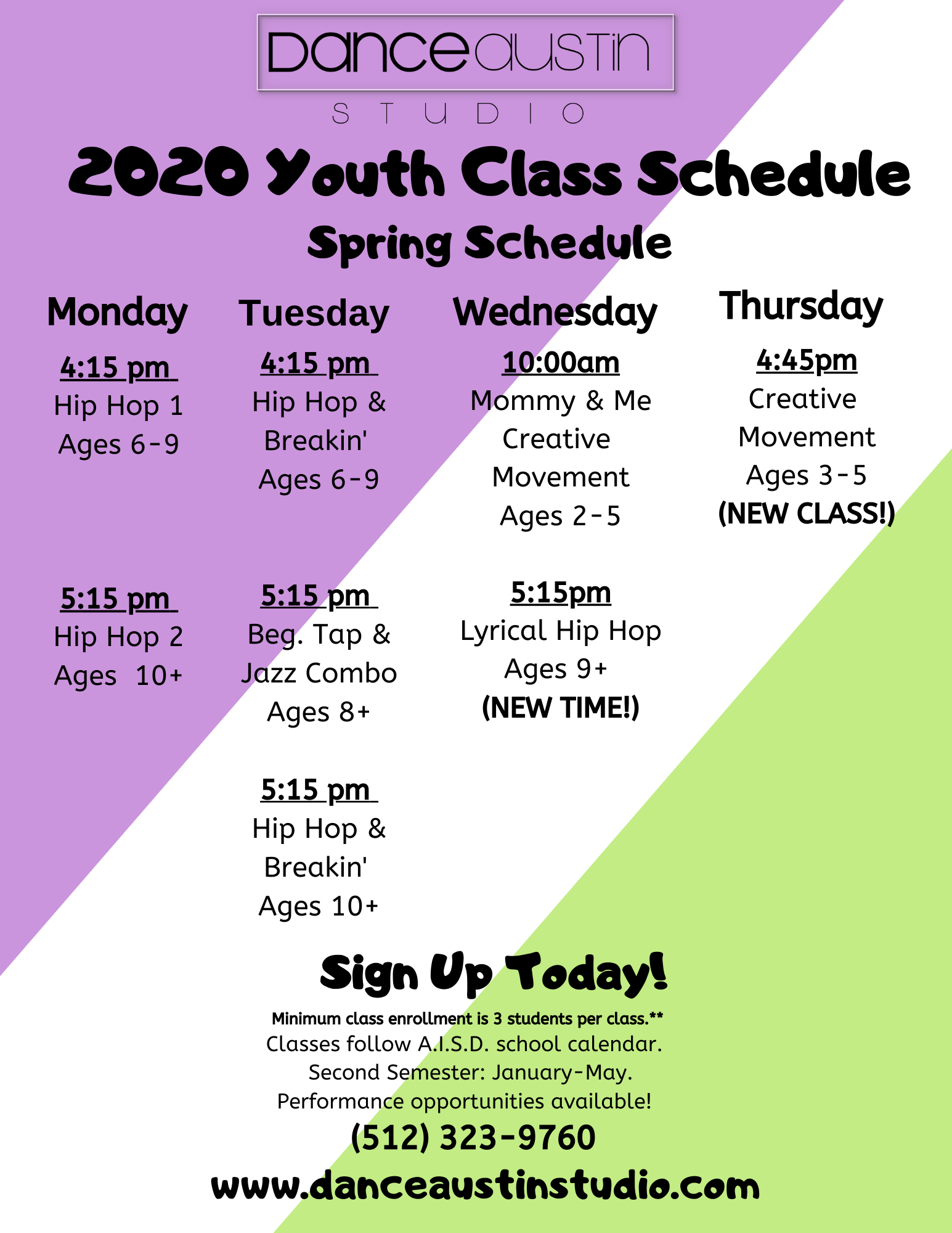 2020 youth Class Schedule