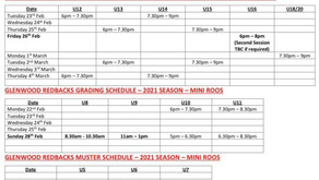 Grading Schedule 2021