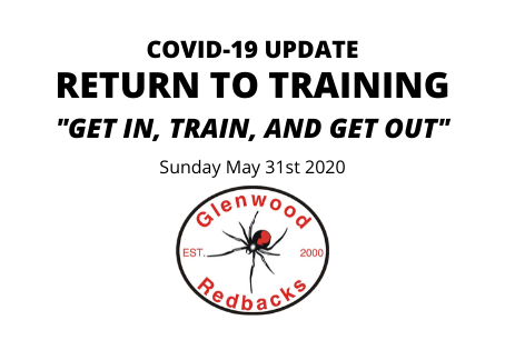 RETURN TO TRAINING: Monday June 1st 2020