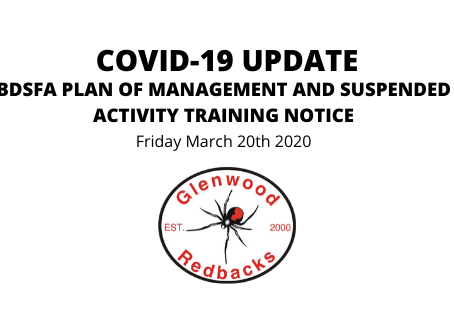 Covid 19 Update: BDFSA Plan of Management and Suspended Activity Training Notice
