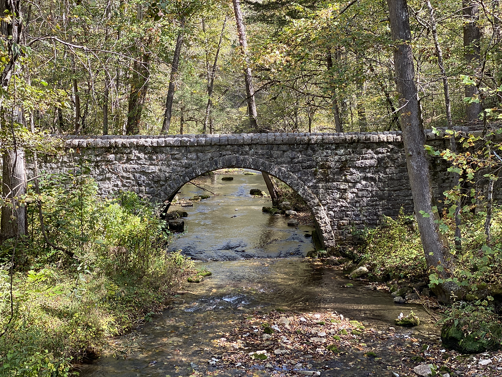 Stone Bridge at Mirror Lake in Mountain View, AR
