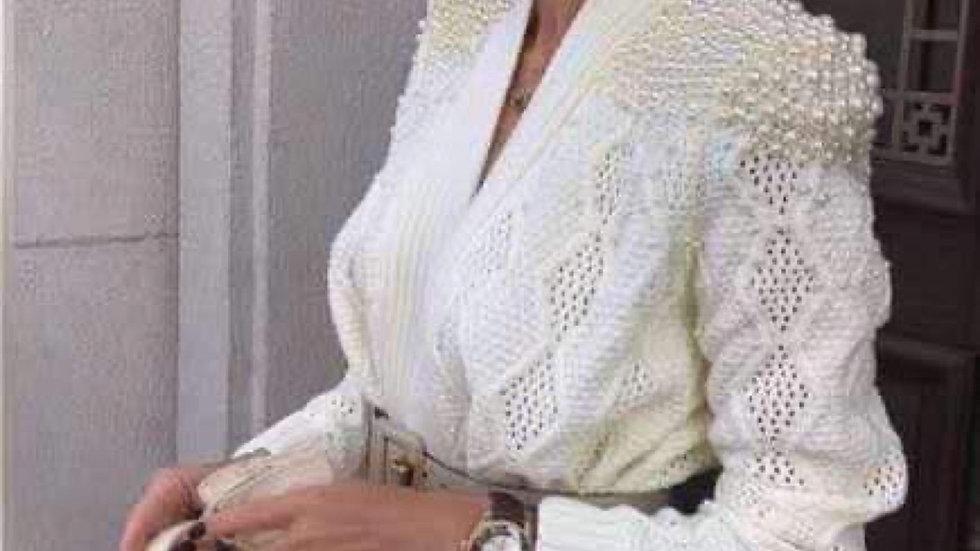 Casaco de malha com pérolas