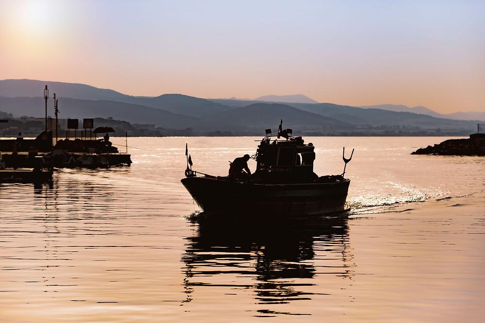 Barche dei pescatori in arrivo al molo