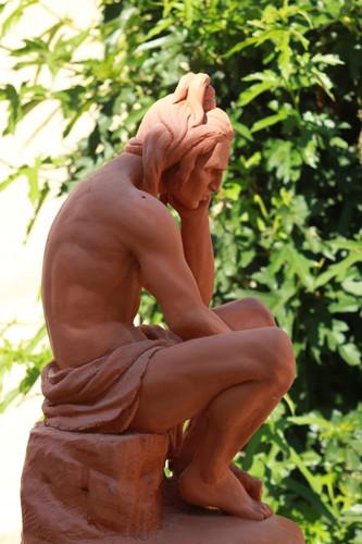 Chactas en méditation sur la tombe d'Atala  d' après l' oeuvre original de Francisque Duret 1836 musée des beaux art de Lyon