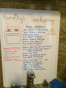 Hamothy's Friendsgiving Schedule