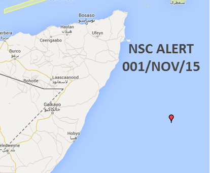 NATO Shipping Centre Alert 001/15 Fishing Vessel Hijacked