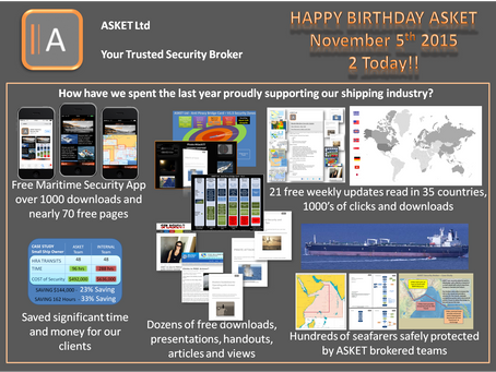 ASKET Ltd Weekly Maritime Security and Piracy News and Update Number 21, 5th Nov 2015 - BIRTHDAY SPE