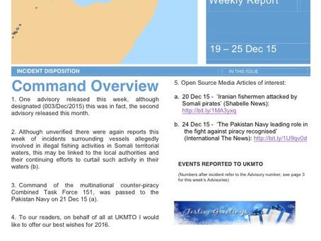 UKMTO Weekly report 25 Dec 2015