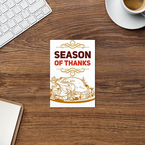 Season Of Thanks Standard Postcard
