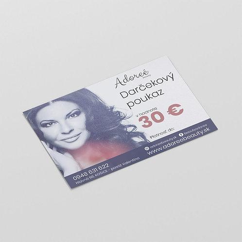 Darčeková poukážka v hodnote  30 eur