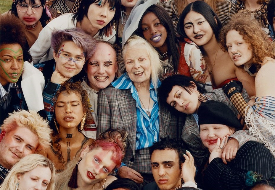 Vivienne Westwood surrounded by youth activists