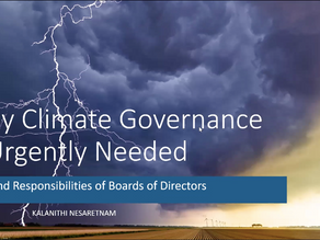Why Climate Governance is urgently required-Role and responsibilities of Board of Directors