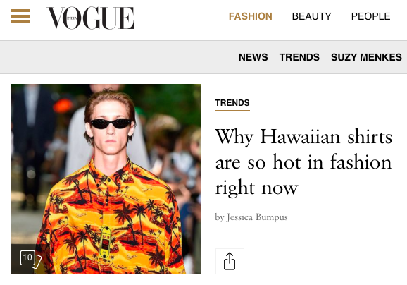 The Return of the Hawaiian Shirt - VOGUE INTERNATIONAL