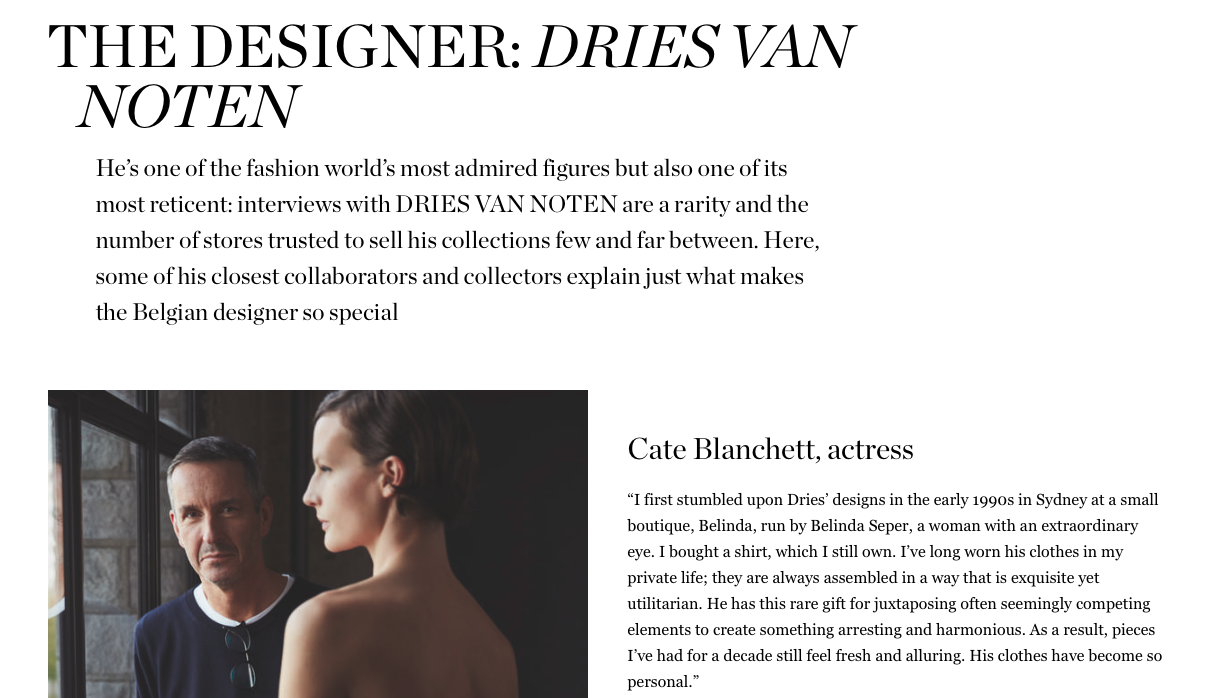 The Designer: Dries Van Noten - NET-A-PORTER THE EDIT MARCH 2019