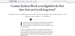 Couture Fashion Week Went Digital For The First time - HARPER'S BAZAAR UK, July 2020
