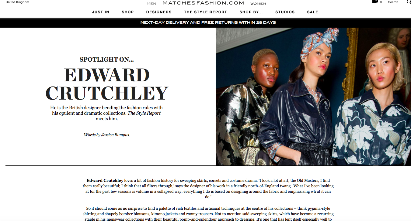 Spotlight on Edward Crutchley -MATCHESFASHION.COM