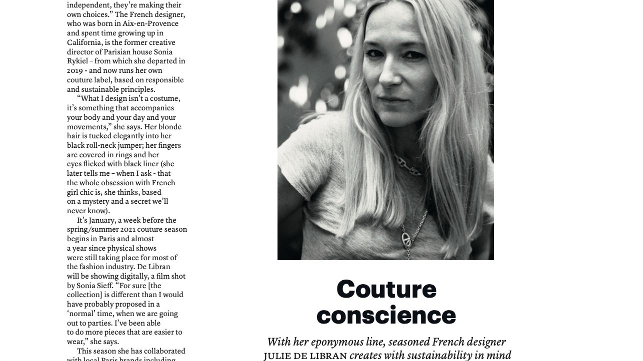 Interview with Julie de Libran - THE WEEK Fashion, spring 2021
