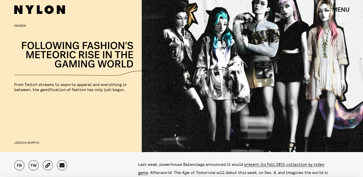 Following Fashion's Meteoric Rise in The Gaming World - NYLON, November 2020
