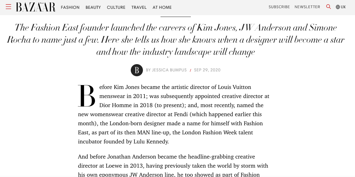 Interview With Lulu Kennedy, Fashion East Founder - HARPER'S BAZAAR UK, September 2020