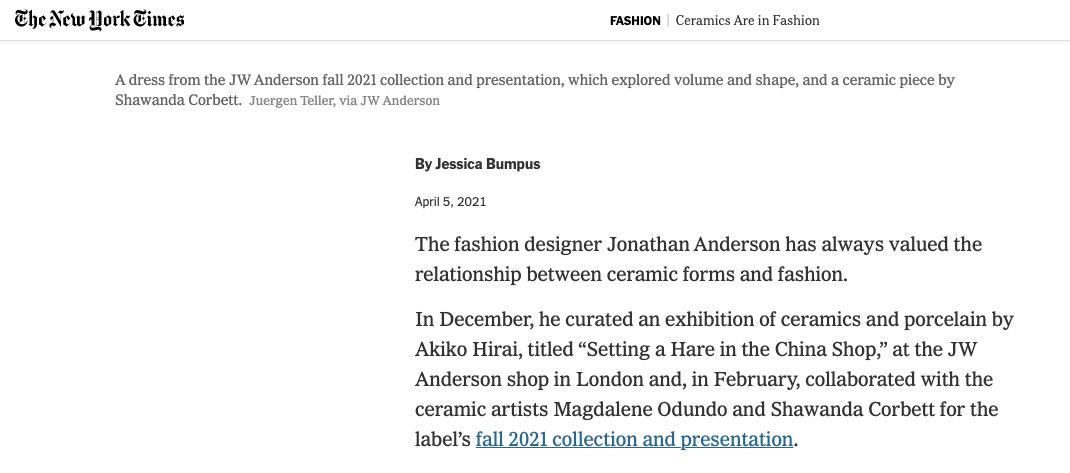 Ceramics Are in Fashion - The New York Times International, April 2021