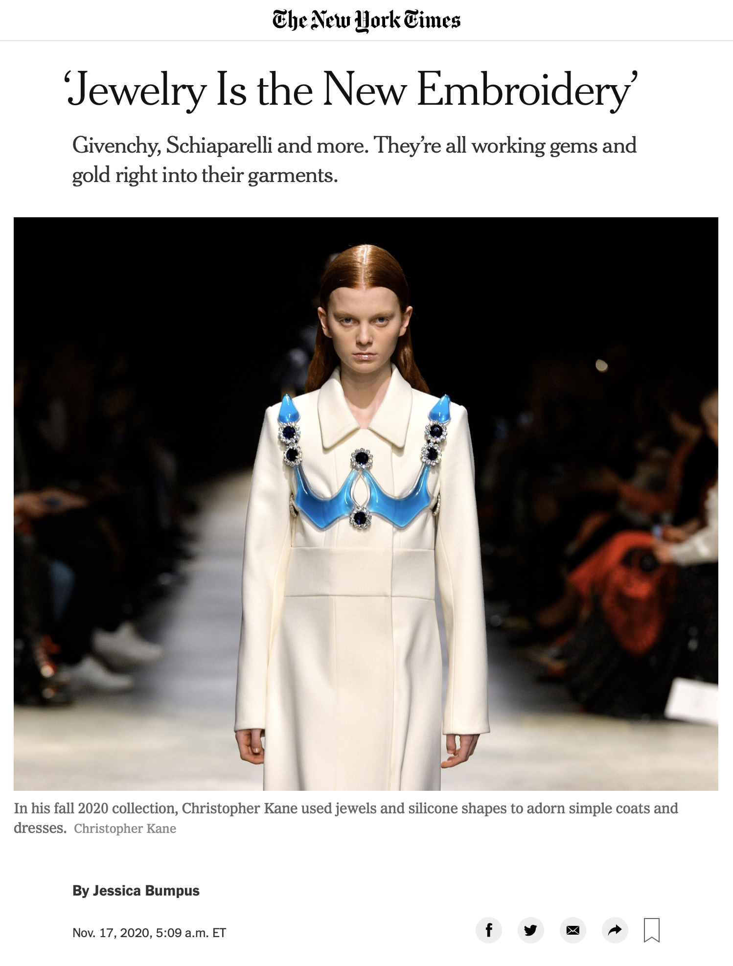 Jewelry Is The New Embroidery - THE NEW YORK TIMES INTERNATIONAL, November 2020 (online)