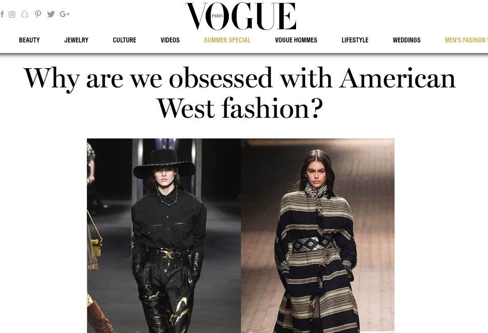 Why Are we Obsessed with American West Fashion? - VOGUE INTERNATIONAL
