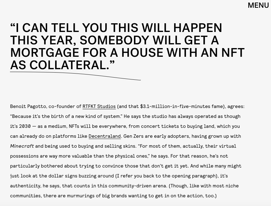 Digital Art Boom, NFTs - NYLON, March 2021