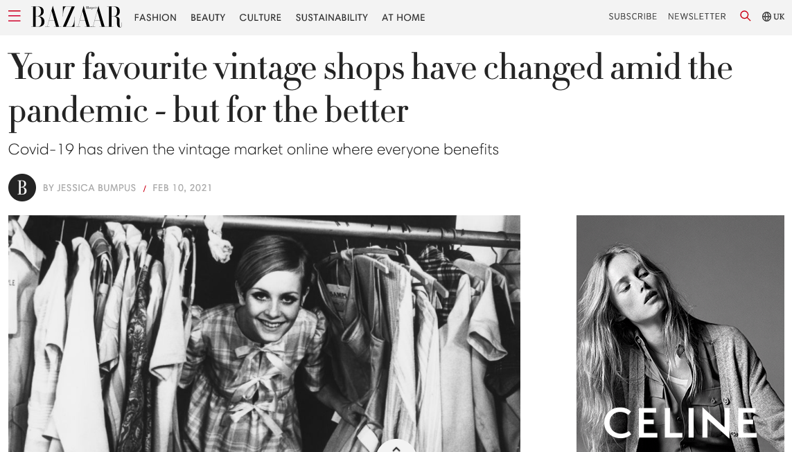 How The Pandemic Has Improved Vintage Stores - Harper's Bazaar UK, February 2021