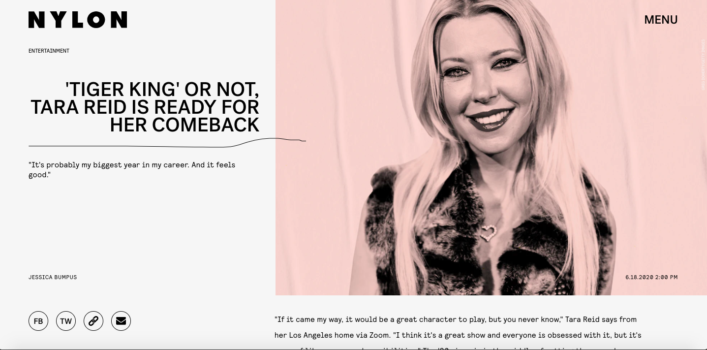 Tara Reid - NYLON June 2020