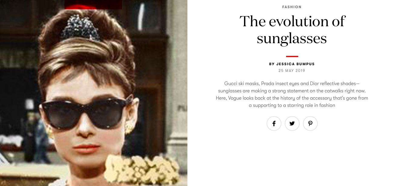 The Evolution of Sunglasses - VOGUE INTERNATIONAL