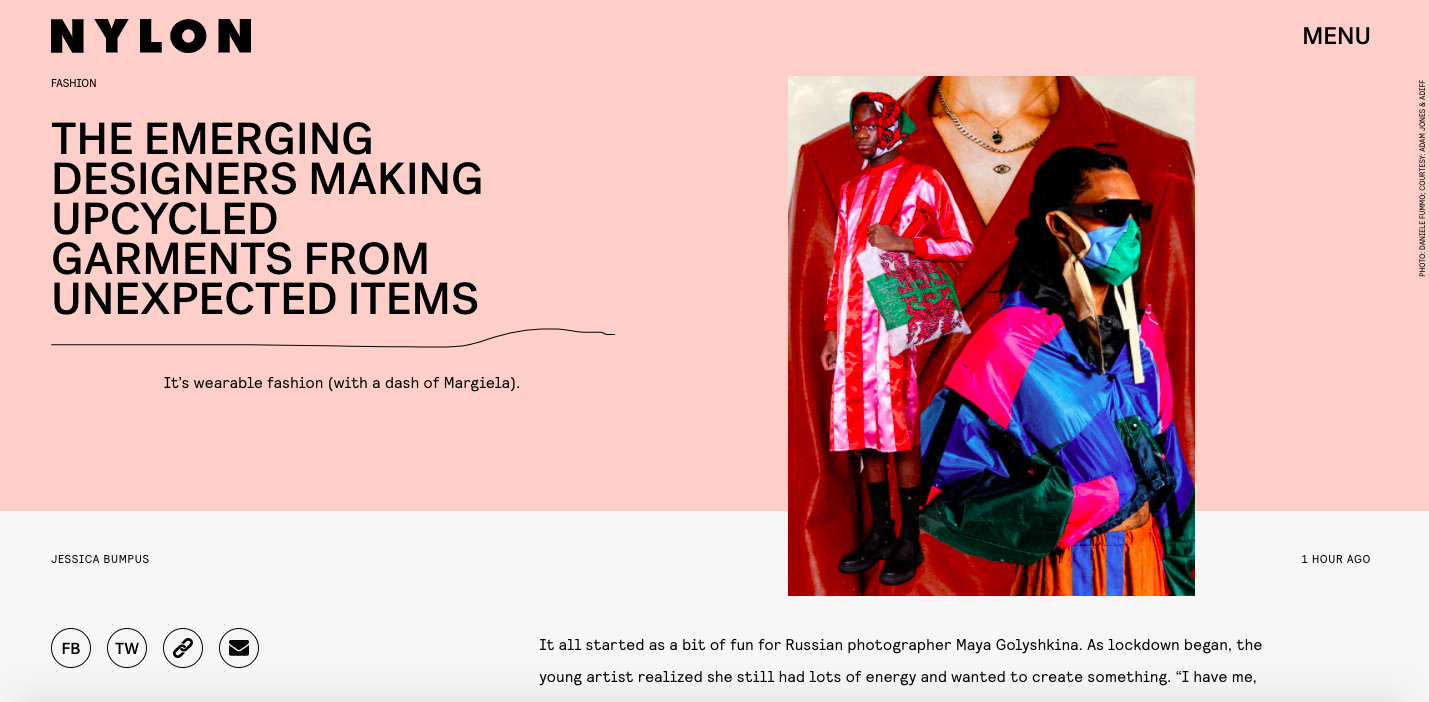 Designers Making Upcycled Garments From Unexpected Items - NYLON, February 2021